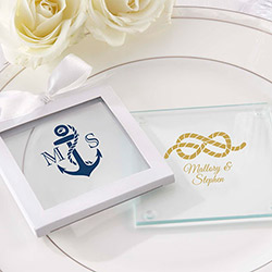 Personalized Glass Coasters- Kates Nautical Wedding Collection (Set of 12)